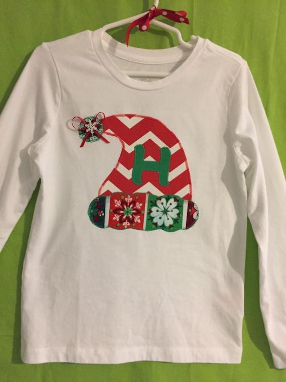 Santa Hat appliqued top toddler girls