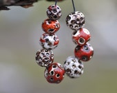 handmade red ceramic beads ceramic big ceramic components for jewelry making  art beads  zolanna clay  stoneware clay