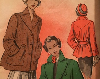 Gorgeous Late 1940's Coat Pattern with Cinched Waist Advance 5219 Size 18  Bust 36