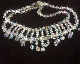 Vintage Clear Glass Aurora Borealis Diamond Shape Faceted Bead Choker Bib Necklace/1960s/Box Clasp with Rhinestones