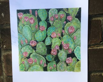 Cactus Rose print of a original watercolor. Print measures 10x 10 inches and fits in a standard size frame .