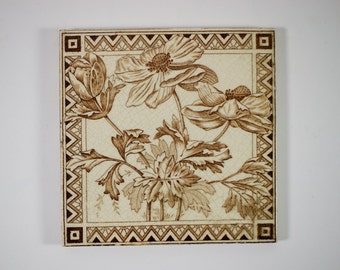 Antique 1900s English Art Nouveau Poppies transfer printed pottery tile