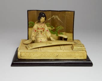 Reserved for Donnell<<<<<<<Antique Vintage Japanese celluloid plastic woman playing koto