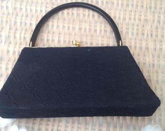 Vintage 1960's Black Embossed  Evening Bag