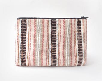 Small pocket woven hand, Zephir, copper and natural fibres