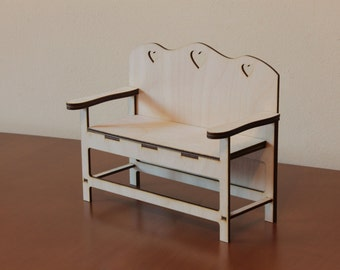 Doll bench - toy bench - Bench for doll - Bench for doll-house - doll furniture - doll house - wooden bench