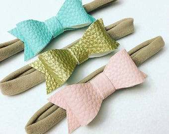 Leather Bow Headbands-Leather hair bows- faux leather-Nylon Headband-Teal-Pink-Gold