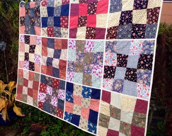 Patchwork quilt, throw. Handmade. Multicoloured