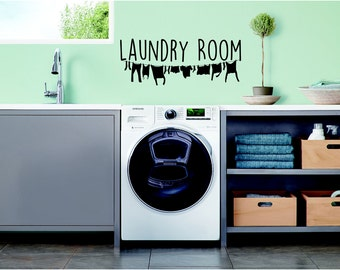 Laundry Room, clothes line, washing line, laundry, utility room,  Wall Art Vinyl Decal Sticker
