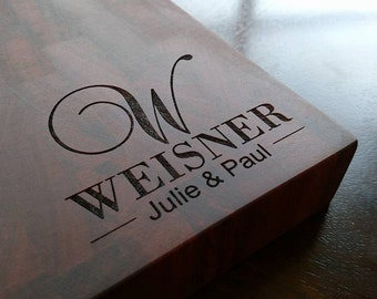 End Grain Butcher Block Cutting Board Mahogany Engraved Cutting Board Family Name, Anniversary Gift, Wedding Gift, Appreciation Gift