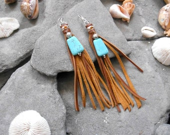 """Earrings """"NATIVE AMERICAN Inspired"""" Leather, Blue Howlite beads, Seed beads, Silvered apprets"""