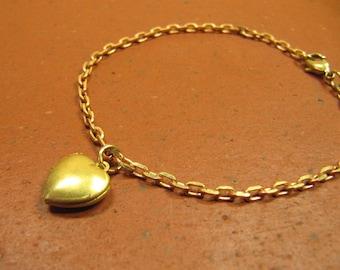 Bracelet MY HEART Bangle bracelets can be customized, gold-tone brass reddish solid rose gold heart love Locket Heart Locket