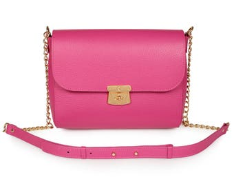 Leather Cross body Bag, Fuchsia Leather Shoulder Bag, Women's Leather Crossbody Bag, Leather bag KF-978