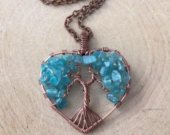 Blue Apatite Tree of Life Heart Pendant Gemstone Antique Copper