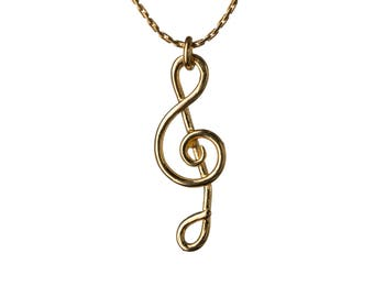 Treble Clef Necklace 14K Gold Filled Pendant Necklace Music Note Jewellery Layering Necklace Jewellery Handmade Free UK delivery GP27