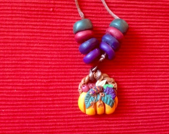 Vintage clay thanksgiving necklace