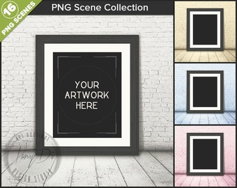 8x10 16x20 White & Black Frame on Wood Floor | Brick Wall | 16 PNG scene | Styled frame mockup | White Mat Portrait Landscape Frame