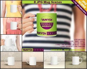 11oz Coffee Mug Photoshop Styled Mockup | White Mug in Woman Hand | Studio Background | 8 JPG scenes
