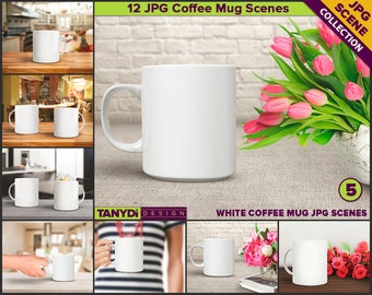 11oz White Coffee Mug Styled Scenes | 12 JPG scenes MC5 | Kitchen, Studio table, Woman hand, Flowers