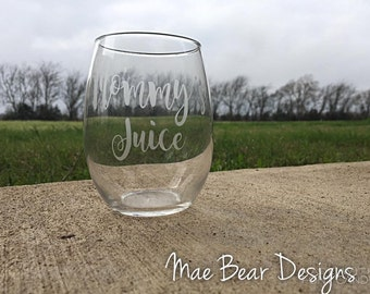 Mommy Etched Wine Glasses