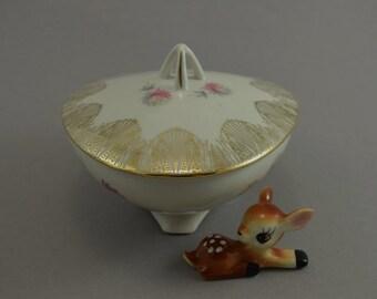Vintage porcelain bowl with lid, trinket box, trinket bowl, vanity bowl, candy bowl, mid century | Germany | 50s