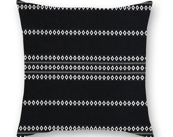 Black and white pillow cover.  Beautiful Boho pillow made from a woven, black and white striped 100% indian Cotton.