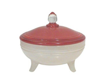 Art Deco Red and White Candy Dish or Powder Box