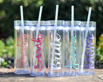 Skinny Tumbler Personalized Cup, Bachelorette Gift for Bride and Bridesmaids with straw