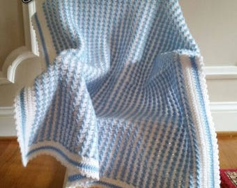 Baby Afghan/Blanket with White and Blue Slightly Raised Stripes, Baby Blanket/Afghans, Baby Shower Gift, Baby Boy Gift,  Gift Under 35,