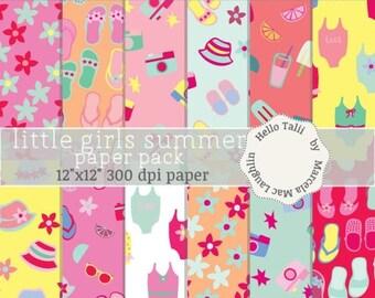 LITTLE GIRLS SUMMER Digital Paper- Girls Summer backgrounds Swimsuits Flip flops Sunglasses Hats Lemonade Flowers Pink Girly Fashion Summer