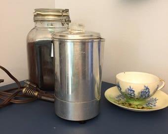 Vintage Empire Aluminum Electric Percolator,vintage coffee pot, mid century kitchen