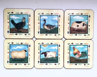 Vintage Coasters / Pimpernel Animal Design Drink Coasters / Hen Pig Cow Rooster Lamb Duck Coasters Set of Six /Farm Pets Square Cork Coaster