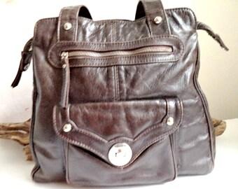 Vintage Danier Rustic Brown Leather Tote Bag Purse Large Hobo Holdall Satchel Distressed Silver Tone Gym Travel Laptop Designer Handbag