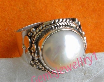 Pearl Stone Ring,Pearl Ring,Sterling Silver Ring,Pearl Silver,Pearl Ring, Stone Ring, Size 5 6 7 8 9 10 11 12 13 14  -0115100200