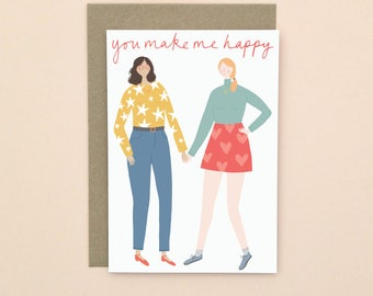 Illustrated Valentine's Card A6 Girls