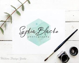 Photography Logo Design, Calligraphy Logo, Aqua Watercolour Pre-made logo, Hexagon Logo Design for photographer, Geometric Logo (A40-LOGO)