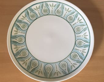 Lovely white ceramic vintage round cake plate / serving platter with aqua & green geometric rim design for tropical Old Florida home!