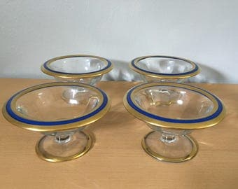Set of 4 1920s Czech Art Deco glass compote bowls / parfait dishes glass blue enamel and gold leaf rim and round base for Old Florida home!