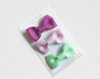 Baby Bow Snap Clips - Purple and Green