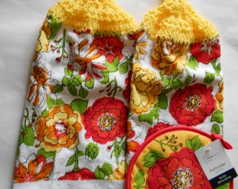 2 Hanging Kitchen Dish Towels with Crocheted Tops and Matching Potholder - Yellow and Red Floral Design - Bright Flowers