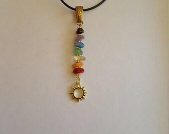 Gold Chakra Necklace Chakra Pendant Sun Healing Crystals Gemstones Chakra Jewelry Crystal Necklace Boho Hippie Bohemian Jewelry Gypsy Jewel