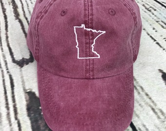 Minnesota hat, State of Minnesota baseball hat, Minnesota baseball cap, Pigment dyed hat, State outline hat, Gameday hat, State outline