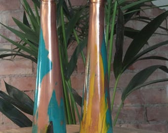 Pair of Hand Formed Painted Used Glass Bottle Neon Yellow/Clear/Turquoise/Copper