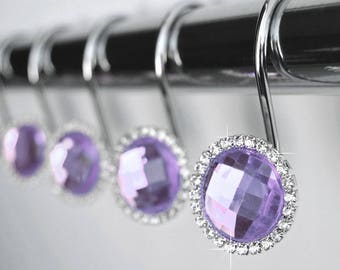 shower curtain hooks rings lavender decorative cute crystal diamond bling rhinestones bath gift romantic decor