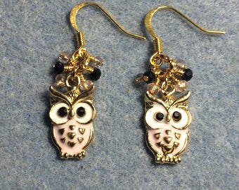 Pink and white enamel and rhinestone owl charm earrings adorned with tiny dangling pink and black Chinese crystal beads.