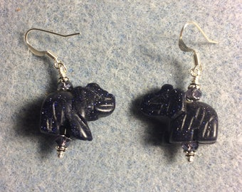 Blue goldstone gemstone elephant bead earrings adorned with purple Chinese crystal beads.
