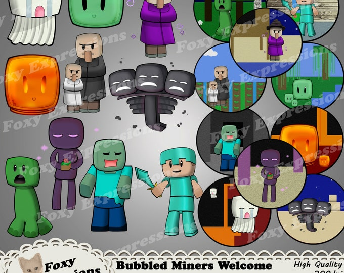 Bubbled Miners Welcome Clip Art pack comes with 10 characters. Designs include Enderman, Zombie, Steve, Slime, Wither, Ghast, Witch & More