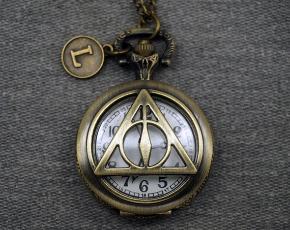 Antique Bronze Plated Alloy Harry Potter the Deathly Hallows Pocket Watch Cosplay Watch Fob Round Mens Pocket Watch Pendant 38mm -P619