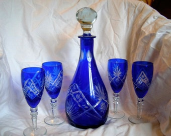 Superb Cobalt Blue Decanter and wineglasses, Vintage Bohemian Cobalt Blue Lead  Glass cut to clear crystal
