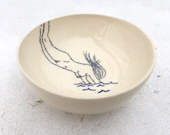 Swimming Woman Bowl, Ceramic Hand thrown bowl, Nude pencil drawing, Original drawing by Catherine Rex